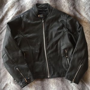 Other - Men's Leather Motorcycle Jacket - Black